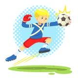 Fußball-Junge springen beiseite, um den Ball zu fangen Lizenzfreie Stockfotografie