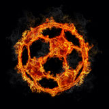 Fußball-Kugel auf Feuer stock abbildung