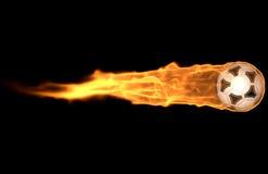 Fußball-Kugel auf Feuer Lizenzfreies Stockbild