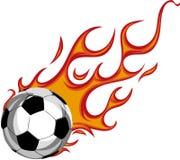 Fußball-Kugel auf Feuer Abbildung auf weißem Hintergrund vektor abbildung