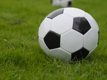 Fußball-Kugel auf grünem Feld Stockfoto