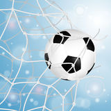 Fußball-Kugel im Netz Lizenzfreies Stockfoto