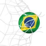 Fußball-Kugel im Netz Stockbild