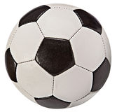 Fußball-Kugel (orange und blau) - getrennt auf Weiß Stockbild