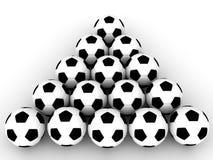 Fußball-Kugeln in der Anordnung Lizenzfreies Stockbild