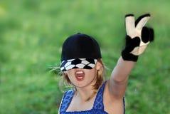 Fußball. Mädchen-Gebläse Lizenzfreie Stockfotos