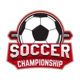 Fußball-Meisterschaft Emblemschablone mit Fußballball Entwurf vektor abbildung