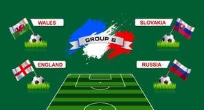 Fußball-Meisterschaft Frankreich-Gruppen-B mit Flaggen des europäischen countr stock abbildung