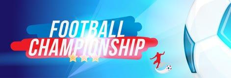 Fußball-Meisterschaft Horizontales Format der Fahnenschablone mit einem Fußballball und Text auf einem Hintergrund mit einem hell Lizenzfreie Stockbilder