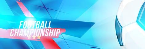 Fußball-Meisterschaft Horizontales Format der Fahnenschablone mit einem Fußballball und Text auf einem Hintergrund mit einem hell Lizenzfreies Stockbild