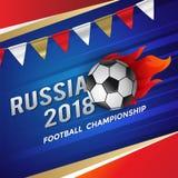 Fußball-Meisterschaft 2018 mit Flammen-Plakat-Design Stockfotos