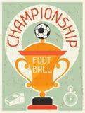 Fußball-Meisterschaft Retro- Plakat im flachen Design lizenzfreie abbildung