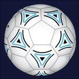 Fußball mit den blauen und schwarzen Dekorationen Lizenzfreies Stockfoto