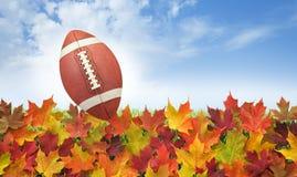 Fußball mit Fall verlässt auf Gras, blauem Himmel und Wolken Lizenzfreies Stockfoto