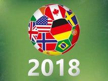 Fußball mit Flaggen irgendwelche Länder auf abstraktem grünem Hintergrund stock abbildung