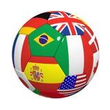 Fußball mit Markierungsfahnen Lizenzfreies Stockbild