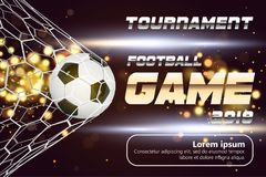 Fußball-oder Fußball-breite Fahne mit Ball 3d auf funkelndem goldenem Hintergrund Fußballspiel-Matchfeuer-Zielmoment mit Ball Stockbilder