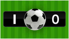 Fußball-oder des Fußball-3d Ball auf grünem Feld mit Ergebnis, Vektorillustration Stockbild