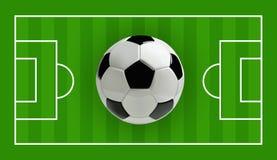 Fußball-oder des Fußball-3d Ball auf grünem Feld, Vektorillustration Lizenzfreie Stockbilder