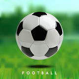 Fußball-oder des Fußball-3d Ball auf grünem Hintergrund Stockfoto