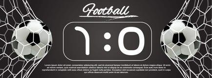 Fußball-oder des Fußball-3d Ball im Netz auf dunklem Hintergrund Lizenzfreies Stockbild