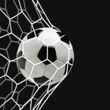 Fußball-oder des Fußball-3d Ball im Netz auf schwarzem Hintergrund Lizenzfreie Stockfotos