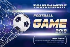 Fußball-oder Fußball-Fahne mit Ball 3d auf blauem Hintergrund Fußballspiel-Matchzielmoment mit Ball im Netz und im Platz Lizenzfreie Stockfotos