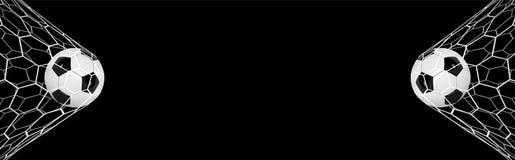 Fußball-oder Fußball-Fahne mit Ball 3d auf schwarzem Hintergrund Fußballspiel-Matchzielmoment mit Ball im Netz Lizenzfreies Stockbild