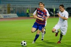 Fußball- oder Fußbalduell Stockfoto