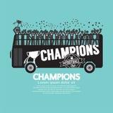 Fußball-oder Fußball-Meister feiern auf Bus vektor abbildung