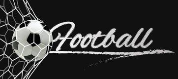 Fußball-oder Fußball-schwarze Fahne mit Ball 3d im Netz auf schwarzem Hintergrund Stockbilder