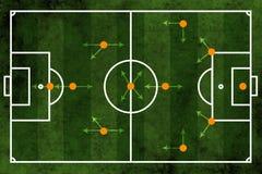 Fußball- oder Fußballplatz- und Teamanordnung Stockfotografie