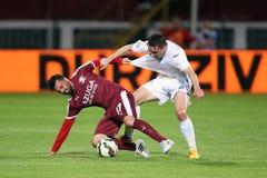 Fußball- oder Fußballspieler in der Aktion lizenzfreies stockbild