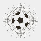 Fußball- oder futballballdruck Weinlesetypographie mit Sonnendurchbruch für T-Shirt, Kleid, Plakat, Logo Vektor vektor abbildung