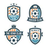 Fußball-oder Fußball-Verein-Logo oder Ausweis-Satz Lizenzfreies Stockfoto