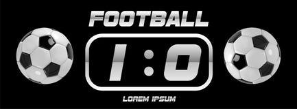 Fußball-oder Fußball-weiße Fahne mit Ball 3d und Anzeigetafel auf schwarzem Hintergrund Fußballspiel-Matchzielmoment mit Ball Lizenzfreie Stockbilder