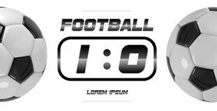 Fußball-oder Fußball-weiße Fahne mit Ball 3d und Anzeigetafel auf weißem Hintergrund Fußballspiel-Matchzielmoment mit Ball Stockbild