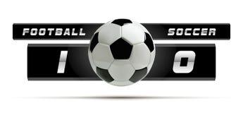 Fußball-oder Fußball-weiße Fahne mit Ball 3d und Anzeigetafel auf weißem Hintergrund Fußballspiel-Matchzielmoment mit Ball Stockfotografie