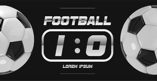 Fußball-oder Fußball-weiße Fahne mit Ball 3d und Anzeigetafel auf weißem Hintergrund Fußballspiel-Matchzielmoment mit Ball Stockfoto