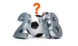 Fußball 2018 in Russland unter dem Zeichen der Frage über eine weiße Illustration des Hintergrundes 3D, Wiedergabe 3D Stockfoto