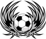 Fußball-Schablone mit Flügeln stock abbildung