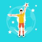 Fußball-Schiedsrichter-Whistle Show Yellow-Karte Stockbild
