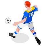 Fußball-Schlaggerät-Spieler-Athlet Sports Icon Set isometrisches Fußballspiel und Spieler des Feld-3D Olympics, die International Lizenzfreies Stockfoto