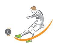Fußball-Spieler im Aktions-Logo - goldener Möglichkeits-Ziel-Tritt Stockbild