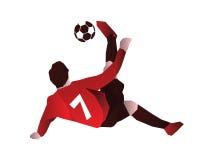 Fußball-Spieler im Aktions-Logo - voller Vertrauens-Fahrrad-Tritt Stockfoto