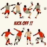Fußball-Spieler-Schattenbild vektor abbildung