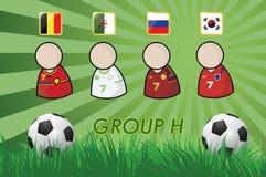 Fußball-Spieler und Flaggen für Meisterschaft 2014 auf Grashintergrund und -Fußball lizenzfreie abbildung