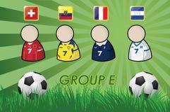 Fußball-Spieler und Flaggen für Meisterschaft 2014 auf Grashintergrund und -Fußball vektor abbildung