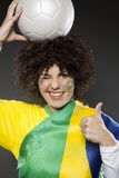 Fußball-Sportfreund-Anhänger Brasilien Stockbild