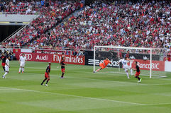 Fußball-Torhüter-Verteidigung - Aktion - Sport-Fans Lizenzfreie Stockbilder